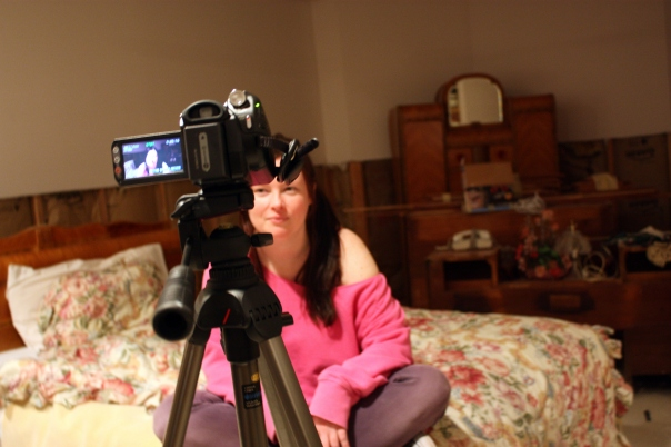 """Tiffany"" recording her video diary."